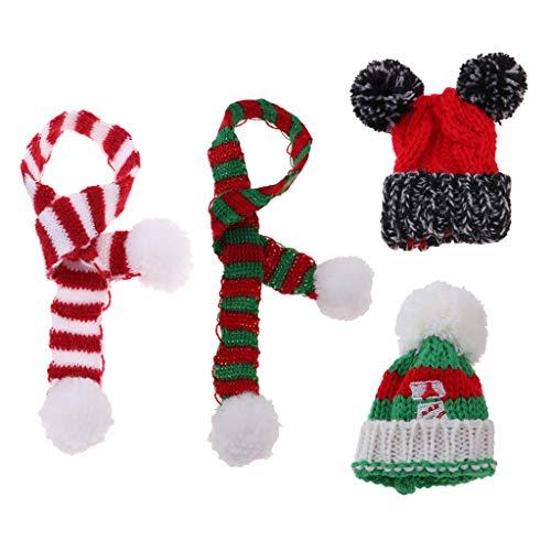 FLAMEER 4pcs/Set Handgefertigt Weihnachtsmütze Wintermütze und Herbstschal Winter Outfit Zubehör für 1/6 Monster High Doll