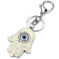 muzuri Fengshui de ojo azul mano de Fátima llavero Crystal Rhinestone clave cadena llavero encanto bolso colgante bolso de mano decoración