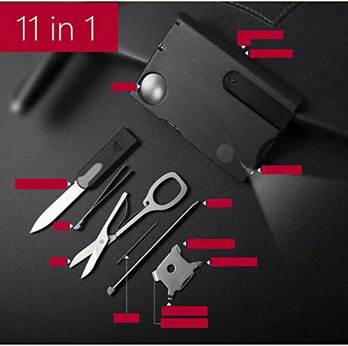 IDEA HIGH noir: 1 jeu = 11 pièces outils paracord multiples kit Multitool huître ouverte randonnée en plein air Voyage d'urgence multifonctionnel camping