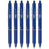 PILOT Lot de 6 Stylos Roller Rétractable Effaçable Frixion Ball Clicker 0,7 Pte Moyenne Bleu