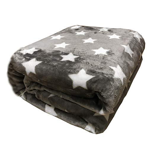 JEMIDI Microfaser Sofadecke XL weiche Wohndecke Decke mit Sterne Sternen 220cm x 180cm Kuscheldecke (180x220cm Anthrazit)