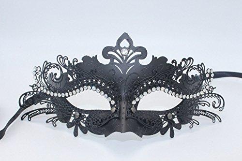 CooBoo Metallmaske mit Strass Elegante Maske mit Glitter Muster (Schwarz) (Tanz Kostüme Edelsteine)