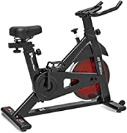 PowerMax Fitness BS-151 Exercise Spin Bike with 10KG Flywheel, LCD Display and Friction Braking System for Hom