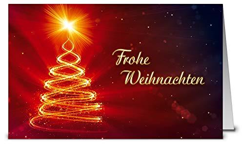Weihnachtskarten mit Umschlag, Set: 50 Stück hochwertige Klappkarten (Querformat 19x12 cm groß) & Umschläge, perfekt für stilvolle Grüße an Firmen-Kunden, Geschäfts-Partner, Team-Kollegen
