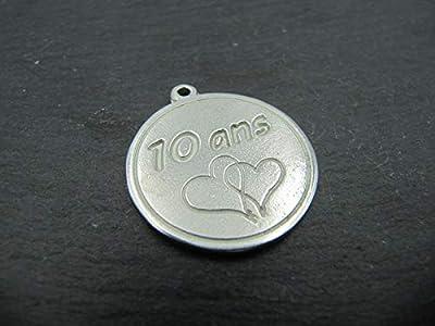 Médaille en étain 25mm - 10 ans + 2 coeurs - Noces d'étain