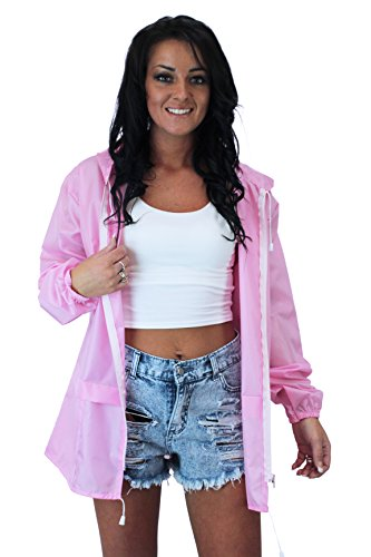 Girl Talk Ladies Light Weight Hooded Shower Proof Festival Mac Rain Coat