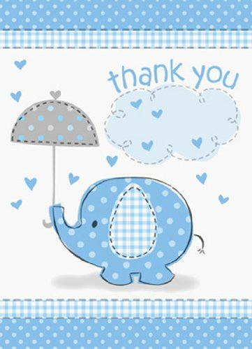 Umbrellaphants-Blue-Thank-You-Notes-with-Envelopes-Pack-of-8