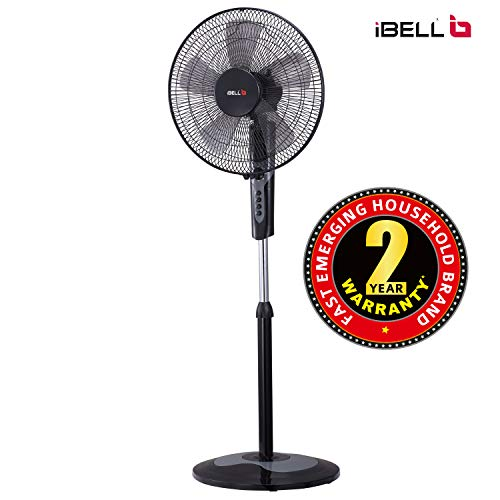iBELL CHROME10 Pedestal Fan 5 Leaf,406 mm, High Speed with Timer Switch (Black)