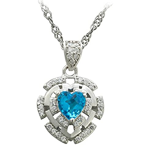 Epinki Women Girls 925 Sterling Silver Necklace Heart of Ocean Inlaid Crystal White