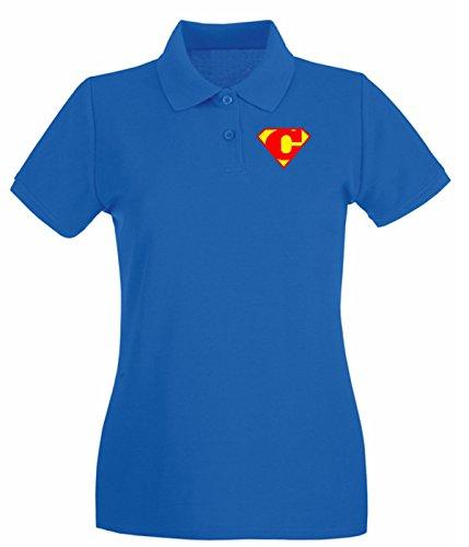 Cotton Island - Polo pour femme T0653 C SUPERMAN fun cool geek Bleu Royal