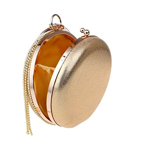 Dame Neu Quaste Rund Fest Elegant Handtasche Diamant Brautjungfer Party Abendtasche Gold