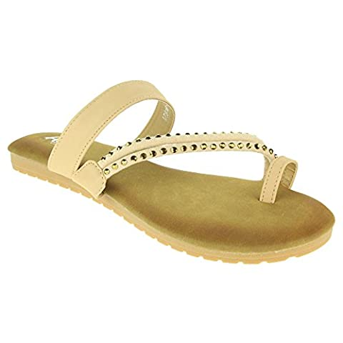 Women Ladies Toe Ring Strappy Summer Beach Casual Party Open Toe Comfort Flat Beige Sandals Shoes Size 6