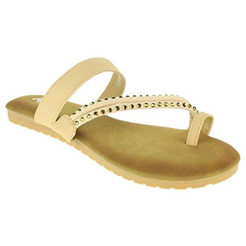 Femmes Dames Anneau d'orteil Strappy Slip On Étourdissant Plage Open Toe Été Casual Confort Party Plat Sandales Chaussures Taille Beige