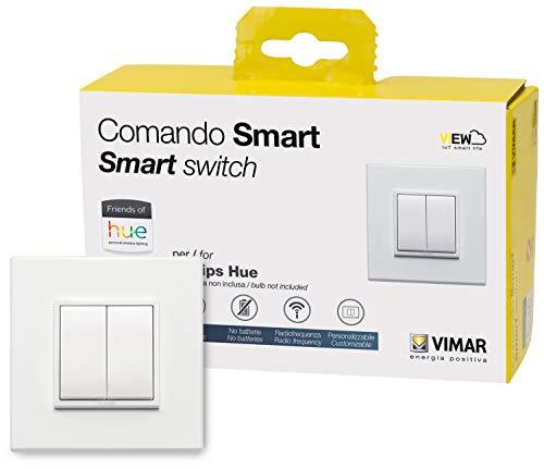 VIMAR 0K03906.03 Eikon Evo Friends of Hue Smart Switch Kit, Wireless Light Switch senza batteria, Dimmer Switch Kit contiene doppia piastra di copertura, telaio di montaggio, interruttore e 2 pulsanti