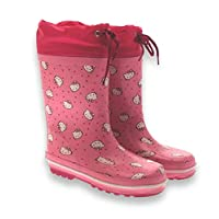 Hello Kitty Tie Top Rubber Wellington Boots Pink