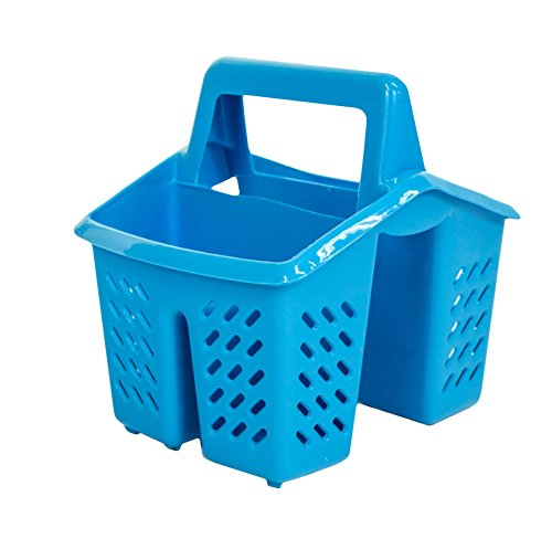 Blue 4 Compartment Plastic Sink Tidy Filter Cutlery Drainer Caddy with Handle