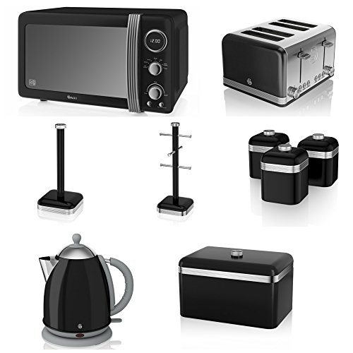 Swan Black Kitchen Appliance Retro Set Of 9 - Retro Black Digital Microwave, 20 Litre, 800 Watt, Black 1.7 Litre Jug Kettle & Retro Stylish 4 Slice Toaster Retro Bread Bin, 3 Canisters, Towel Pole And 6 Mug Tree Set