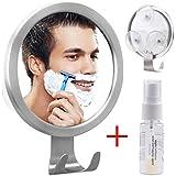GlobaLink Espejo Antivaho Redondo Espejo Ideal para Afeitar Maquillaje Cosméticos Ducha Cuarto de Baño Pared con Gancho Ventosa de Fijación Agente Anti-Niebla Color Plateado Acero Inoxidable Regalo