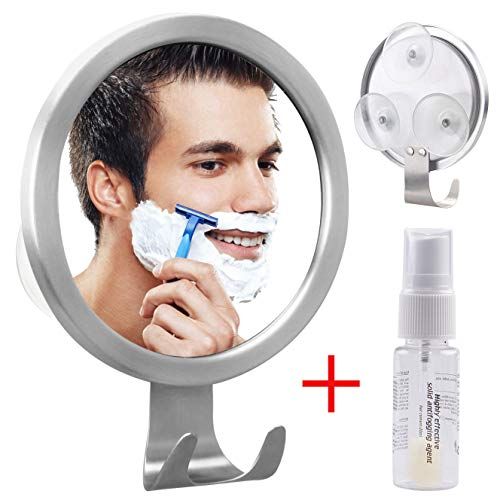 GlobaLink -OHNE Bohren -Antibeschlag Rasierspiegel Duschspiegel Badspiegel mit Saugnapf und Halterung incl. Antibeschlagmittel für Badezimmer Duschen