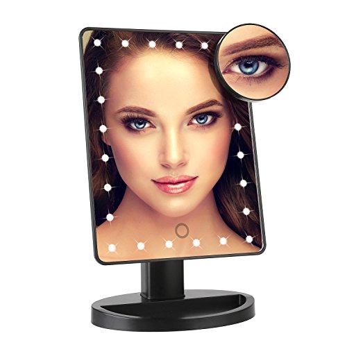 MVPower 24 LED Schminkspiegel mit 10fach Lupe, 180° drehbarer Kosmetikspiegel mit USB Kabel Make up...