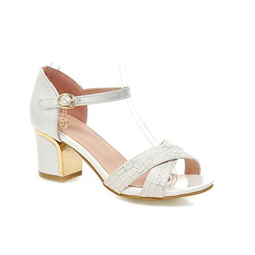 VogueZone009 Donna Luccichio A Scacchi Fibbia Tacco Medio Heeled-Sandals Bianco