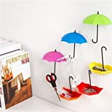 #10: Rian's Online™ 6pc Decorative Umbrella Drop Style Clothes Key Hat Robe Hall Wall Hook for Bathroom Kitchen Door Shelves Hanger Hooks (pack of 2)