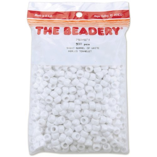The Beadery 6 by 9mm Barrel Pony Bead, White, 900-Pieces by The Beadery -
