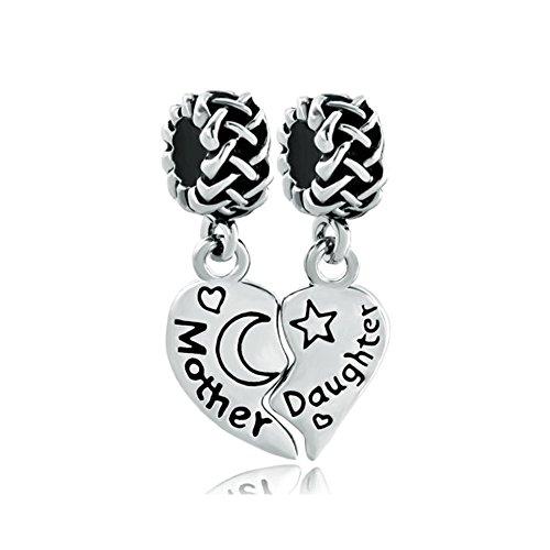 Uniqueen Charm-Paar Mutter / Tochter (in englischer Sprache), Design mit keltischem Knoten, für Charm-Armbänder von Pandora / Troll / Chamilia