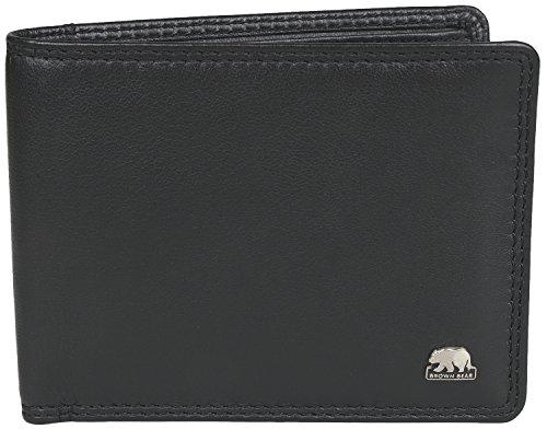Brown Bear Geldbörse Herren Leder schwarz klein 8061 bk (Kleine Leder)