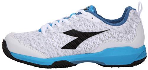 Diadora - Scarpe da Tennis da Uomo Speed Shot Clay, Colore: Bianco/Blu Malibu, Bianco (Bianco), 49 EU