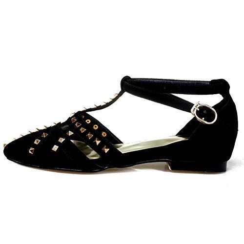 Damen Sandalen Kuhleder Flach Schuhe T-Spange Knöchelriemchen mit Nieten Schwarz