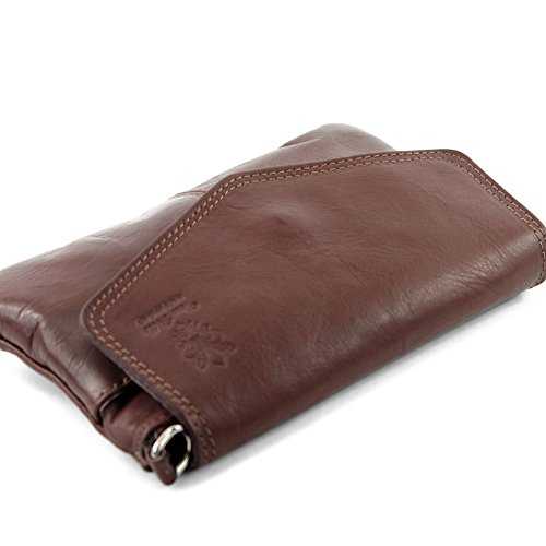 Borsa a tracolla borsa Messenger in vera pelle italiana T05 Braun