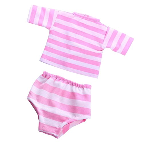 MagiDeal 2pcs/ Set Puppenkleidung für 18'' American Girl - Gestreiftes T-Shirt & Unterwäsche Unterhosen - - Puppenkleidung Unterwäsche-set