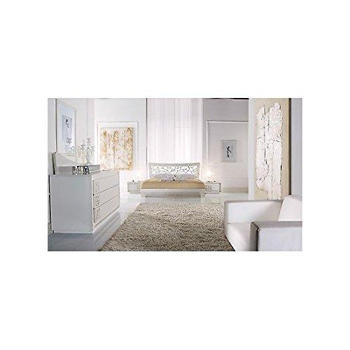 EsteaMobili Chambre de lit laqué Blanc Bois Massif lit como 'Chevet Artisanale – comme Photos Blanc et Ivoire
