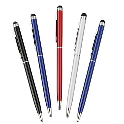 homiki Lot de 5 en métal universe stylos à billes-stylets capacitifs pour tous les appareils avec écrans tactiles pour iPad/iPod