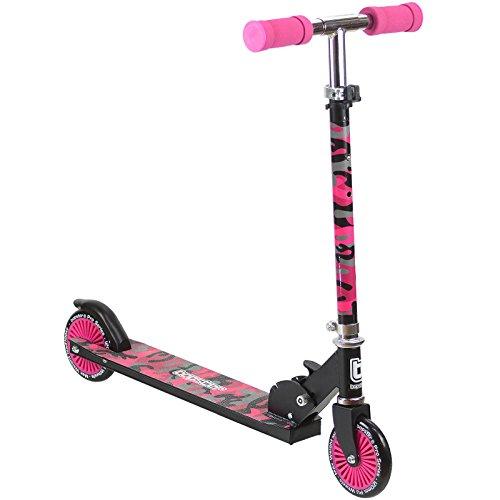 Bopster monopattino kick a 2 ruote pieghevole per bambini – camuflage rosa
