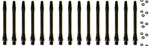Lot de 15corps de fléchette en aluminium Noir Tige courte 35mm + 20x joints en O + 1 jeu de fléchettes britanniques inclus