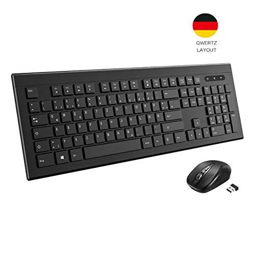 TOPELEK Tastatur Maus Set Kabellose USB, Maus und Tastatur Wireless QWERTZ Deutsches Layout Funktastatur mit Maus mit 3 stufige DPI, für Computer, Laptop, PC, Mac, Schwarz