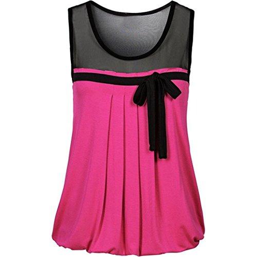 Overdose Mode Damen Frauen Sommer Casual Bow Spitze T-Shirt Ärmellos Weste Tank Tops Bluse Camisole Lässig T-Shirt Freizeit Oberteile Tees(Hot Pink,M) (Pink Hot Tee Herz)