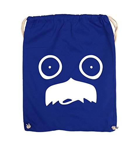 Comedy Bags - GESICHT SCHNURRBART - COMIC - Turnbeutel - 37x46cm - Farbe: Schwarz / Silber Royalblau / Weiss