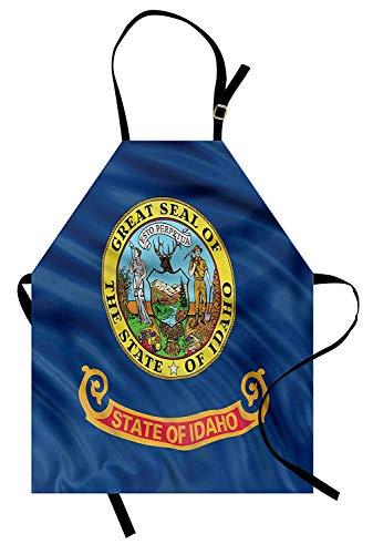 Amerikanisches Schutzblech, Idaho-Flaggen-Buchstaben-Bergmann und Frau, die Gleichheit Freiheit und Gerechtigkeit, Unisexküchen-Latzschürze mit justierbarem Hals für das Kochen der backenden ()