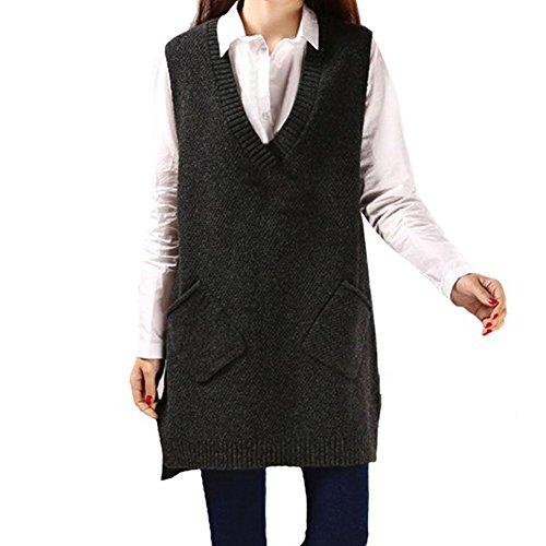 CHIC-CHIC Damen Strick Pullunder lang Weste V-Ausschnitt Ärmellos Sweater Pullover Casual Sweatshirt (Dunkelgrau)