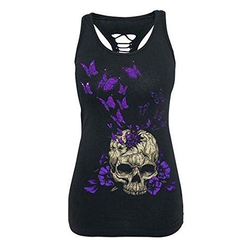 Skull Print Gilet Tops hibote Skull Vest Sexy Femme sans manches Violet
