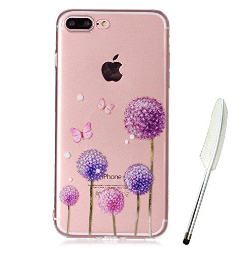 iPhone 8 Plus Hülle (5,5 Zoll), iPhone 8 Plus hülle durchsichtig mit Muster, Edaroo Cartoon Blumen Blätter Tiere Bunt Muster Soft Silikon Gel Weich TPU Schutzhülle Handy Cover Rückseite Handyhülle Etu Lavender