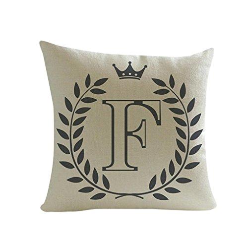 Kavitoz Leinen Kissenbezüge Buchstaben Muster Sofa Bett Haus Dekoration Kissenhülle 45 x 45 cm (F) (Buchstaben Komfortable)