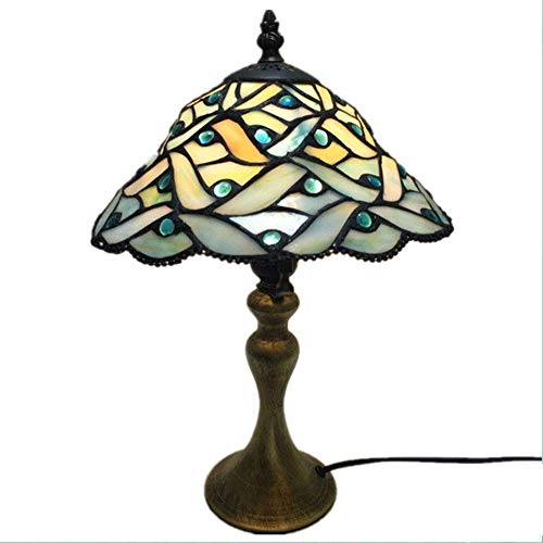 DBSCD Tiffany Stil Lampen Glasmalerei Tisch Schreibtisch Leselampe Kristall Perle Sea Blue Shade 10 Zoll für Wohnzimmer Schlafzimmer Bücherregal Kommode Couchtisch -
