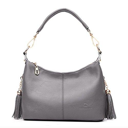 DHFUD Damenmode Schultertasche PU Quaste Wild Handtasche Gray