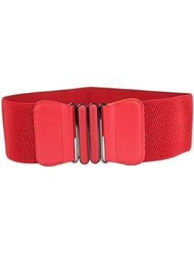 Tefamore Mode Frauen Vintage elastische Stretch Schnalle breite Taille Gürtel Bund