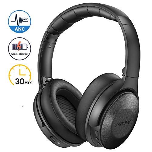 Mpow H17 Casque Bluetooth Reduction de Bruit Active, 2 Heures de Charge Rapide Casque Audio, 30 Heures Temps de Musique, Deep Bass avec CVC 6.0 Casque Bluetooth pour Téléphone/PC