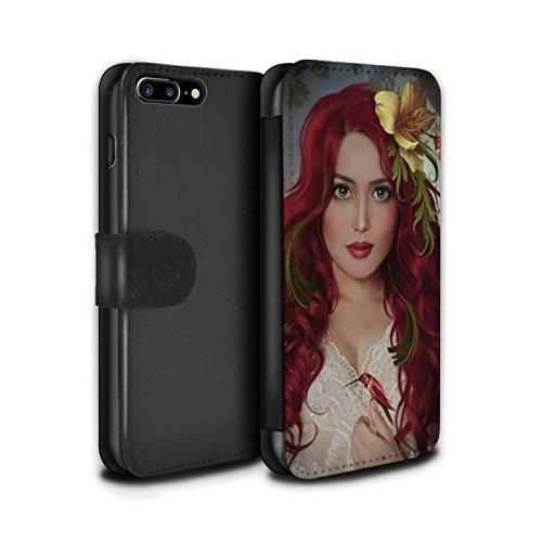 Officiel Elena Dudina Coque/Etui/Housse Cuir PU Case/Cover pour Apple iPhone 8 Plus / Coucher Soleil Design / Les Oiseaux Collection Colibris Rouges